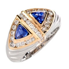 Diamond Blue Sapphire Unisex Platinum Gold Ring