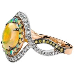 Joke Quick 18K Rose & White Gold Opal & Diamond Coctail ring