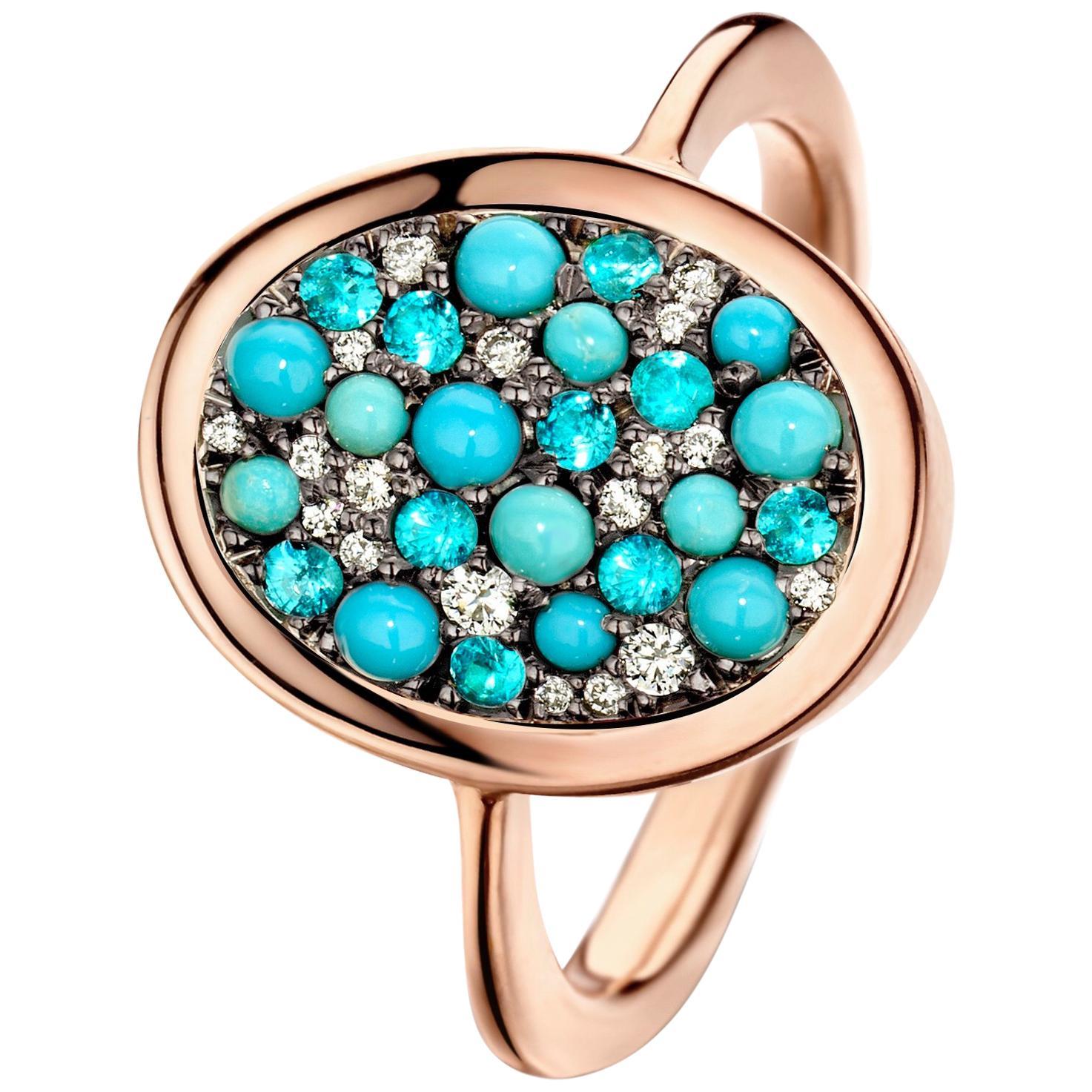 Joke Quick Turquoise, Paraïba tourmalines & Diamond ring