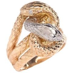Interlocking Snakes Diamond Yellow Gold Platinum Ring