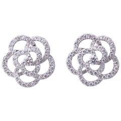 Diamond Camelia Flower Earrings