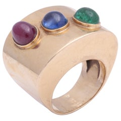 Retro Wide Band with Cabochon Ruby, Sapphire and Emerald Ring