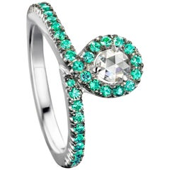 Joke Quick 18K White Gold Emerald and Rose-cut Diamond Entourage ring