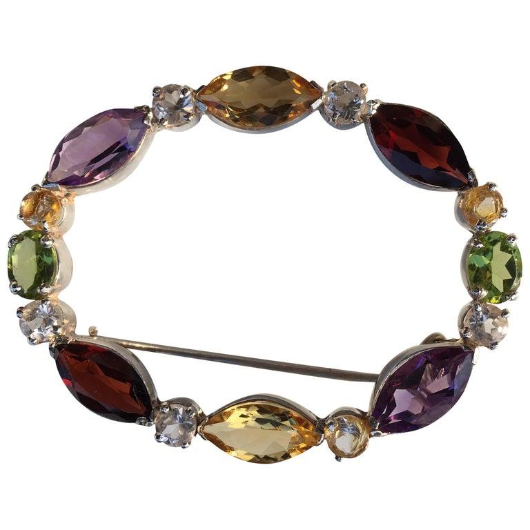 Semi Precious Stones Brooch Pin For Sale At 1stdibs