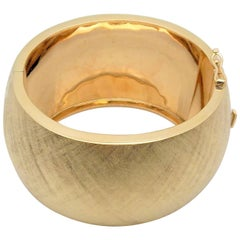14 Karat Yellow Gold Florentine Finish Wide Hinged Bracelet