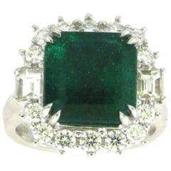 GIA Certified 18 Karat White Gold Emerald Cut Emerald and Diamond Ring