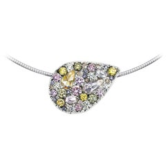Joke Quick 18K White Gold 3,6 carat Fancy Pink, Green, Blue Diamond Pendant.