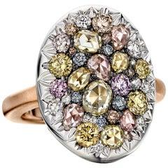 Joke Quick 18K Rose & White Gold 2,445 Carat Fancy Diamond Pave Cocktail ring
