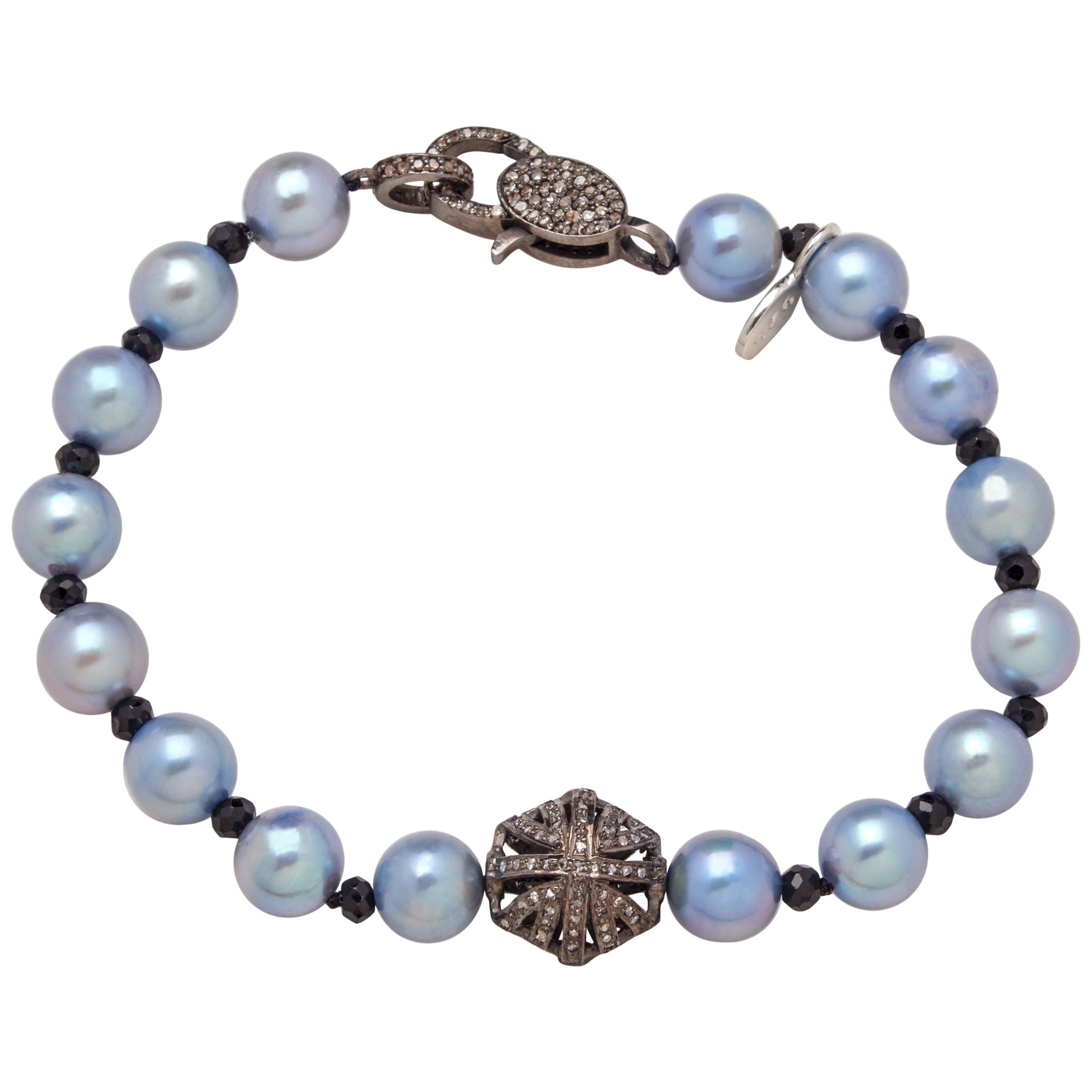 Diamond Sterling Puff Charm Akoya Pearl Bracelet
