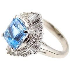 Aquamarine Platinum Diamond Ring