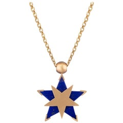 Ouroboros Star Lapis Lazuli and Gold Spinning Pendant Handmade Necklace