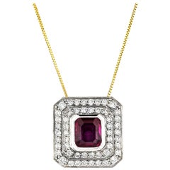 18 Carat White Gold Ruby and Diamond Double Row Grain Set Cluster Pendant