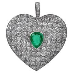 Regal Antique Platinum Diamond and Emerald Heart