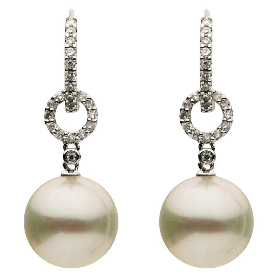 South Sea Pearl Diamond Drop Earrings 0.29 Carats 10-11 MM 18K White Gold
