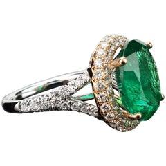 5.46 Carat Emerald and Diamond 18 Karat White and Rose Gold Cocktail Ring