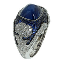 Blue Sapphire 10.31 Carat Diamonds 18 Karat White Gold Maghreb Ring
