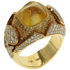 GRS Certified 6.45 Carat Yellow Sapphire Diamonds 18 Karat Yellow Gold Ring