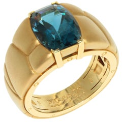 London Topaz 7.69 Carat 18 Karat Yellow Gold Male Inca Ring