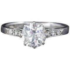 Antique Edwardian Diamond Solitaire Ring Platinum Engagement Ring, circa 1910