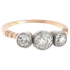 Victorian Old-Mine Diamond Three-Stone Ring