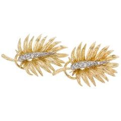 18 Karat Yellow and White Gold Diamond Fern Leaf Earrings