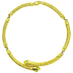 18 Karat Yellow Gold and Emerald Cable Link Double Snake Necklace