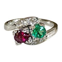 1920s Antique Art Deco Emerald Ruby Diamond Platinum Ring