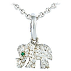 Cartier Diamond Pave and Emerald White Gold Small Elephant Pendant Necklace