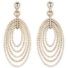 Oval Hoops 4.06 Carat Diamond 18 Karat Yellow, White Gold Drop Earrings