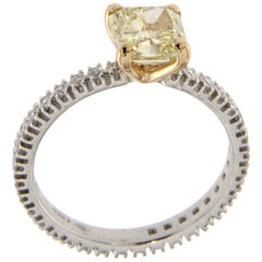 Solitaire Fancy Color Diamond 18 Karat Gold Eternity Ring