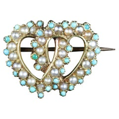 Antique Victorian Turquoise Pearl Double Heart Brooch, circa 1900