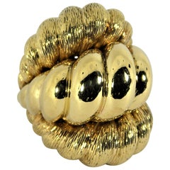Huge Gold Twisted Rope Style Ring