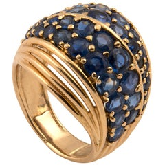 18 Karat Gold and Blue Sapphire Ring