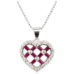 Diamond and Ruby Baguette Heart Necklace