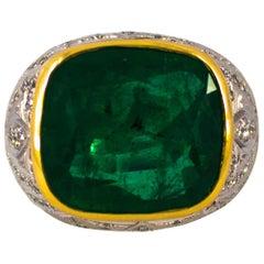 Art Deco 18.04 Carat Emerald 1.80 Carat White Diamond White Gold Cocktail Ring