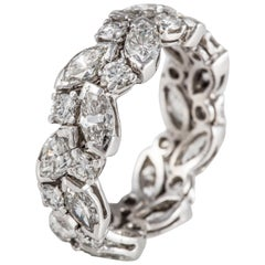 Platinum Marquise and Round Diamond Eternity Band