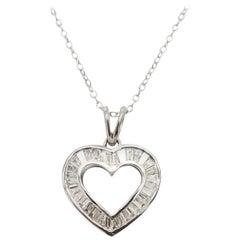 Diamond Baguette Heart Necklace