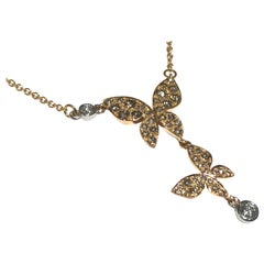 Mimi 18 Karat Pink Gold Necklace with Butterfly