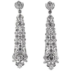 5.85 Carat White Old European Cut Diamond White Gold Clip-On Drop Earrings