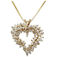 Diamond Staggered 3-Row Heart Necklace