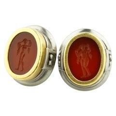 Kieselstein-Cord Red Carnelian Intaglio 18 Karat Yellow Gold/SS Earrings