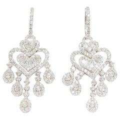 Diamond Chandelier Dangle Earrings White gold 18 Karat