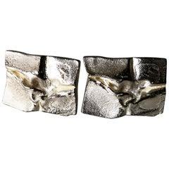 1971 Bjorn Weckstrom for Lapponia Sterling Silver Finnish Space Age Cufflinks