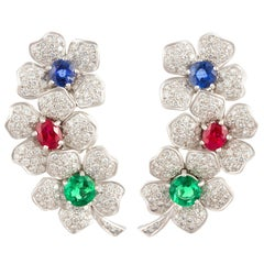 Ella Gafter Emerald Ruby Sapphire Diamond Flower Earcuff Earrings