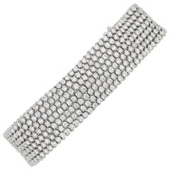 White Diamond Mesh Bracelet, 15.18 Carat