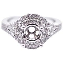 14 Karat White Gold 0.49 Carat Diamond Semi-Mount Engagement Ring