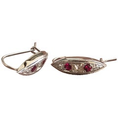Ruby and Diamond Ear Rings Set in 18 Karat White, Ben Dannie Design