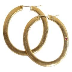 Roberto Coin 18 Karat Yellow Gold Drop Hoop Earrings