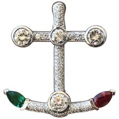 1 Carat Approximate Anchor Yachting Pendant, Diamond, Ruby, Emerald, Ben Dannie