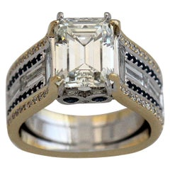 Emerald Cut Diamond and Sapphire Ring, Ben Dannie Design
